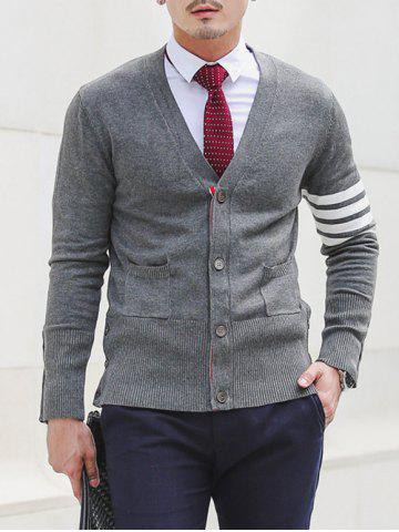 Outfit Slim Fit V Neck Striped Pocket Cardigan GRAY 2XL