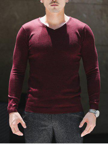 Unique Slim Fit V Neck Pullover Knitwear WINE RED 2XL
