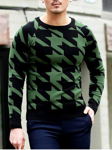 Fancy Slim Fit Round Neck Houndstooth Pullover Knitwear GREEN 2XL