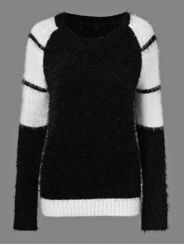 Striped Mohair Sweater - WHITE/BLACK ONE SIZE