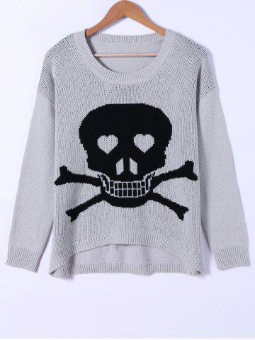 Outfits Skull Pattern High Low Hem Sweater BLACK AND GREY ONE SIZE(FIT SIZE XS TO M)