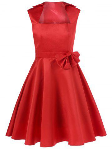 New Bowknot Decorated Fit and Flare Dress