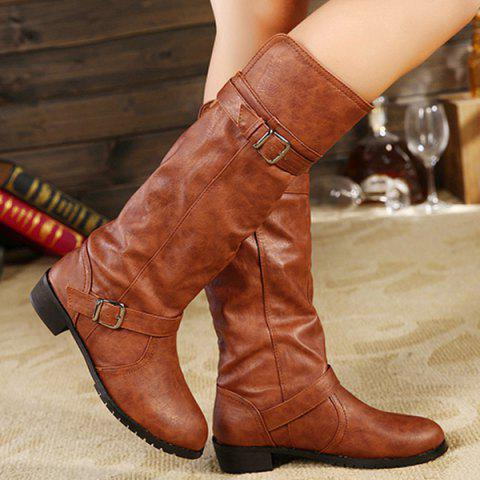 Outfit Flat Heel Elastic Band Mid Calf Boots BROWN 39