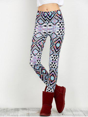 Unique Elastic Waist Geometric Print Leggings