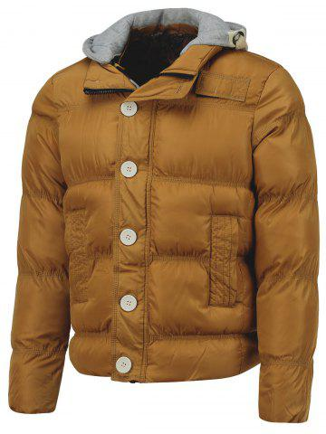 Chic Hooded Splicing Single Breasted Embellished Thicken Down Jacket
