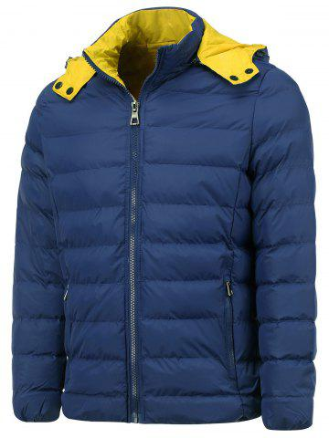 Sale Hooded Color Block Zip Up Thicken Down Jacket