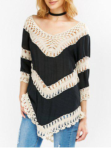 Discount Low Cut Color Block Crochet Blouse