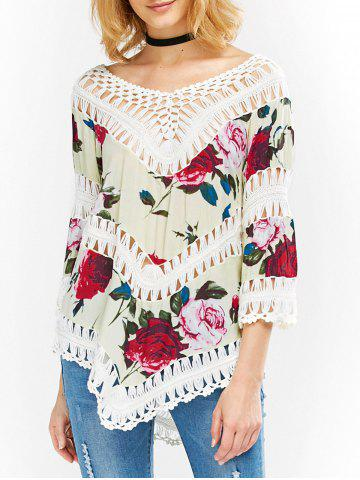 Fancy Floral Asymmetrical Hem Crochet Blouse