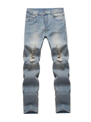 Unique Knee Holes Frayed Zipper Fly Narrow Feet Ripped Jeans BLUE 32