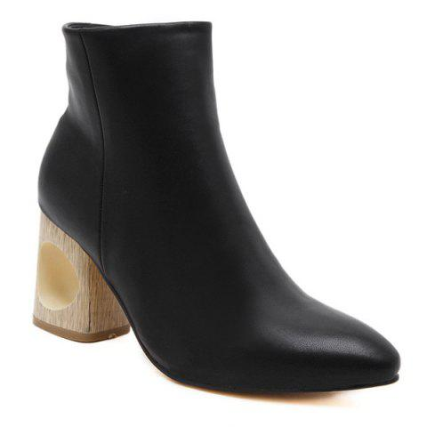 Chic Hollow Out Pointed Toe Zipper Ankle Boots BLACK 39