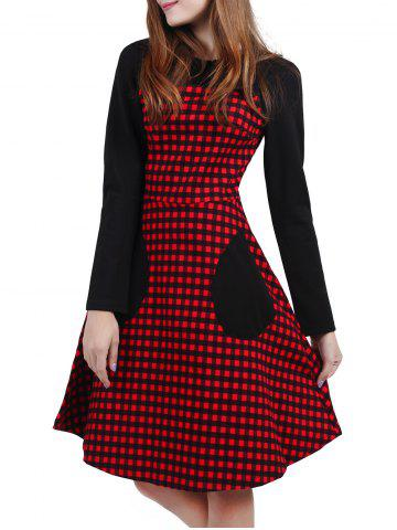 Fashion Plaid Pocket Fit and Flare Dress RED XL