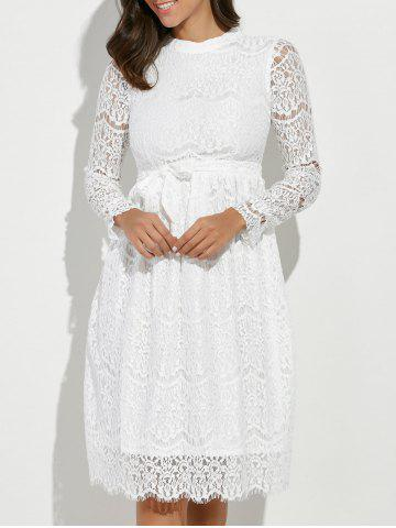 Store Lace Panel Belted Long Sleeve Dress