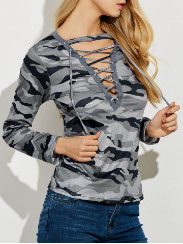 Latest Lace Up Camouflage Long Sleeve T-Shirt GRAY XL