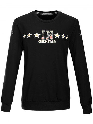 New Star Floral Letter Pattern Pullover Sweatshirt