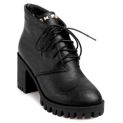 Affordable Chunky Heel Rivets Tie Up Ankle Boots BLACK 39