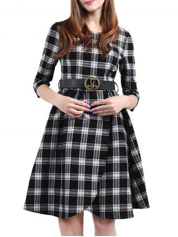 Chic Plaid Belted Fit and Flare Dress BLACK 3XL