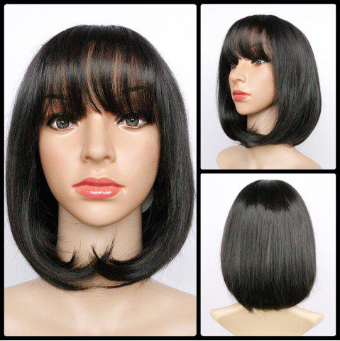 Chic Short Full Bang Fluffy Straight Heat Resistant Fiber Wig BLACK