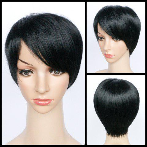 Outfits Heat Resistant Short Side Bang Straight Fiber Wig BLACK
