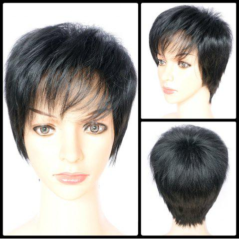 Online Short Boy Cut Side Bang Fluffy Straight Synthetic Capless Wig BLACK