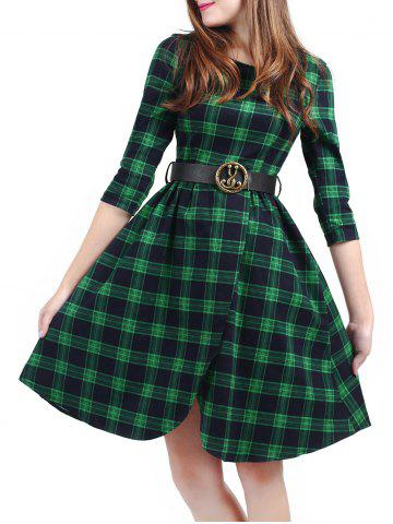 Hot Plaid Belted Fit and Flare Dress GREEN S