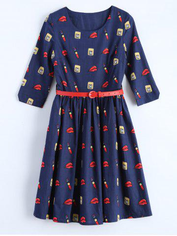 Buy Belted Make Up Print Fit and Flare Dress