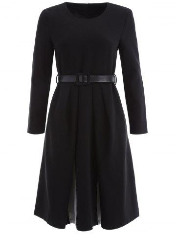 Affordable Belted Long Sleeve Fit and Flare Dress