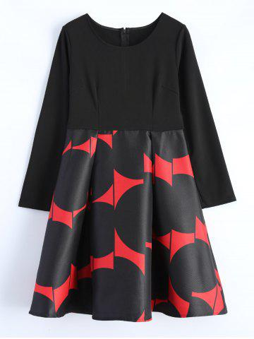 Hot Long Sleeve Printed A-Line Dress