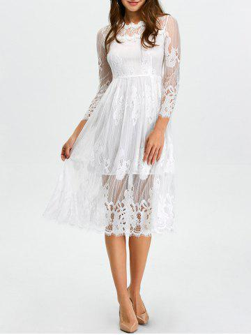 Affordable Midi Lace Scalloped Sheer A Line Swing Dress
