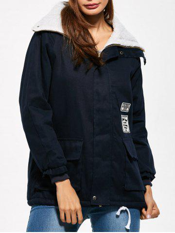 Chic Lamb Wool Patched Utility Jacket