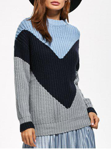 Cheap Fitting Chunky Color Block Sweater GRAY ONE SIZE