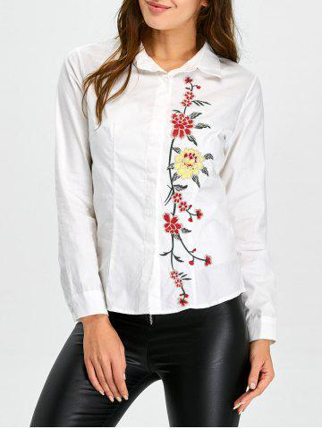 Sale Fitting Floral Embroidered Shirt