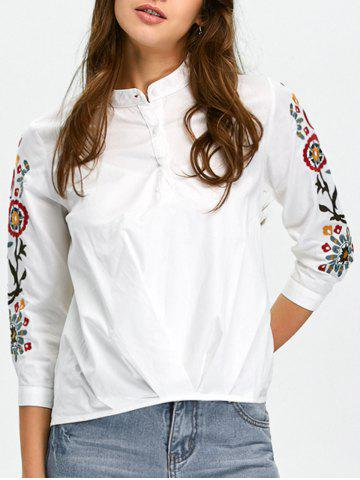 Unique High-Low Floral Embroidered Shirt