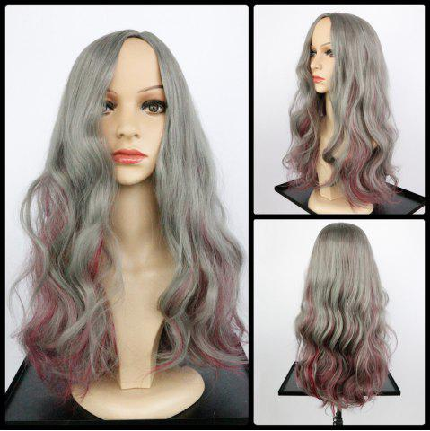 Unique Long Side Parting Wavy Double Color Synthetic Wig