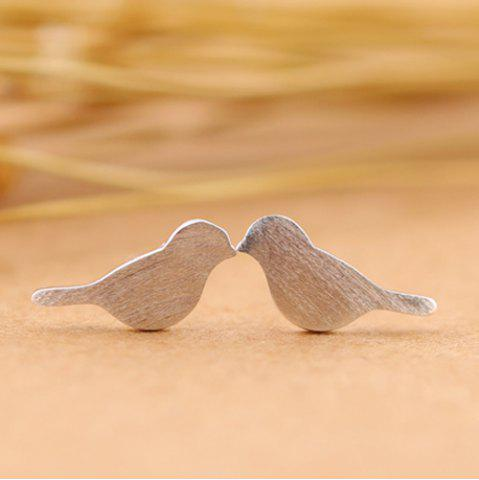 Birds Shape Stud Earrings - Silver - L