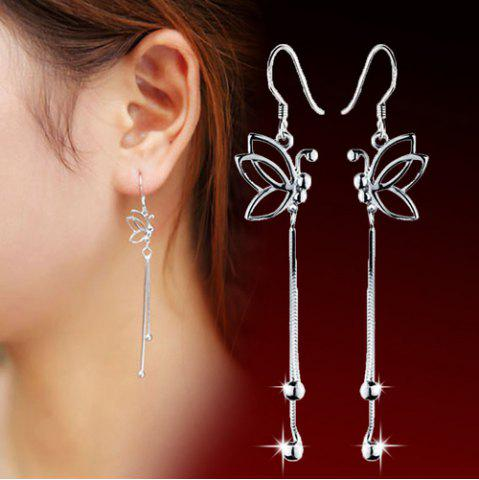 Sale Butterfly Hollowed Drop Earrings - SILVER  Mobile