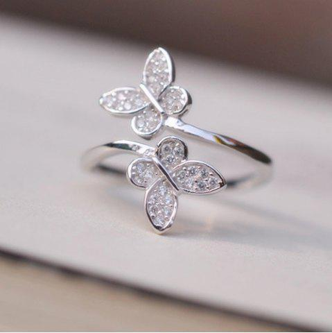 Shops Double Butterfly Fake Crystal Embellished Cuff Ring - SILVER  Mobile
