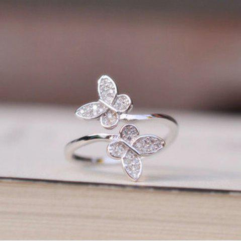 Outfit Double Butterfly Fake Crystal Embellished Cuff Ring - SILVER  Mobile