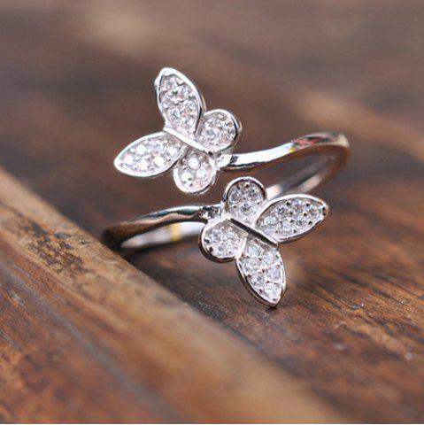 Unique Double Butterfly Fake Crystal Embellished Cuff Ring - SILVER  Mobile