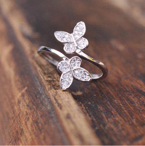 Fashion Double Butterfly Fake Crystal Embellished Cuff Ring - SILVER  Mobile