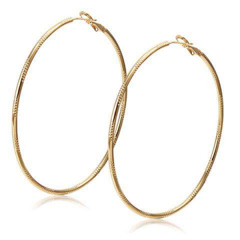 Chic Alloy Engraved Hoop Earrings CHAMPAGNE
