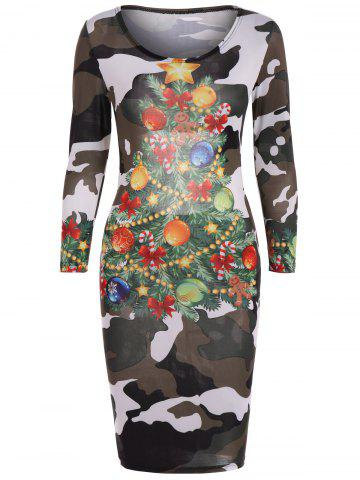 Affordable Christmas Tree Print Camouflage Dress