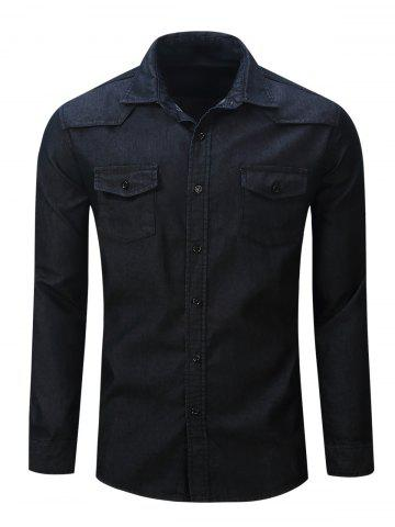 Outfit Chest Pocket Button Up Denim Shirt BLACK 2XL