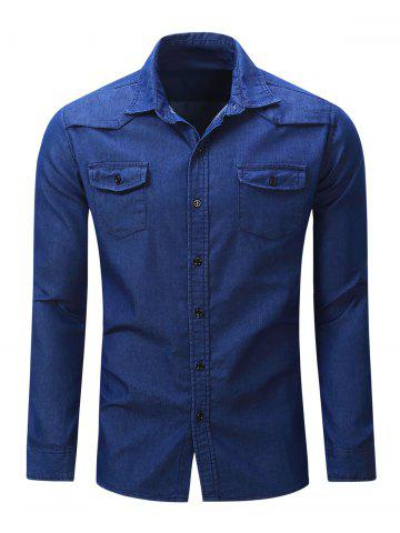 Bouton Chest Pocket Up Denim Shirt Bleu Foncé XL