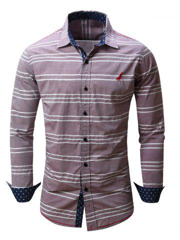 Online Embroidered Button Front Striped Shirt RED 2XL