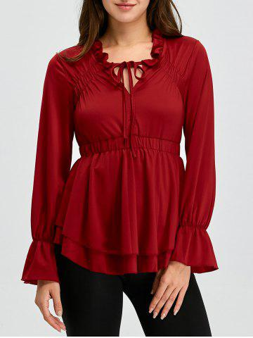 Store Lace Up Bell Sleeve Skirted Ruffle Blouse WINE RED XL