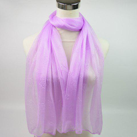Chic Lightweight Roses Jacquard Soft Yarn Shawl Wrap Scarf - LIGHT PURPLE  Mobile