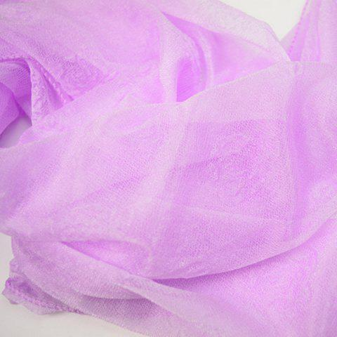 Outfits Lightweight Roses Jacquard Soft Yarn Shawl Wrap Scarf - LIGHT PURPLE  Mobile