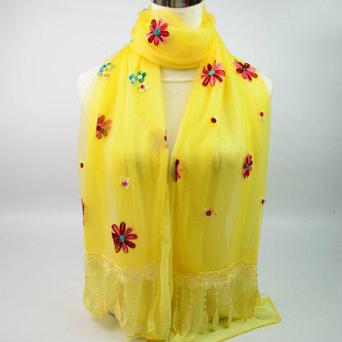 Cheap Lightweight Floral Embroidery Tassel Chiffon Scarf