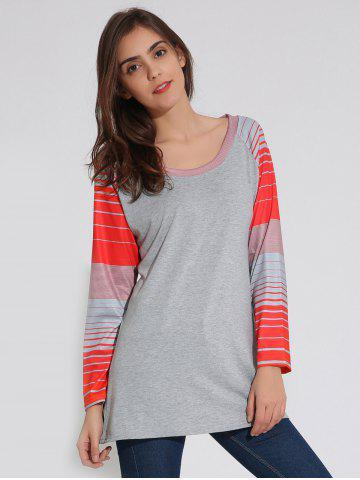 Raglan Sleeve Striped Tunique T-Shirt Gris XL