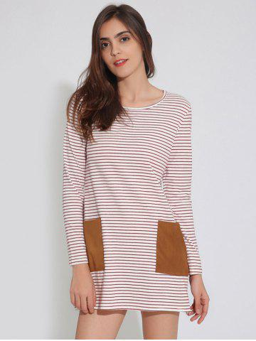 Sale Long Sleeve T-Shirt Tunic Shift Striped Dress RED XL